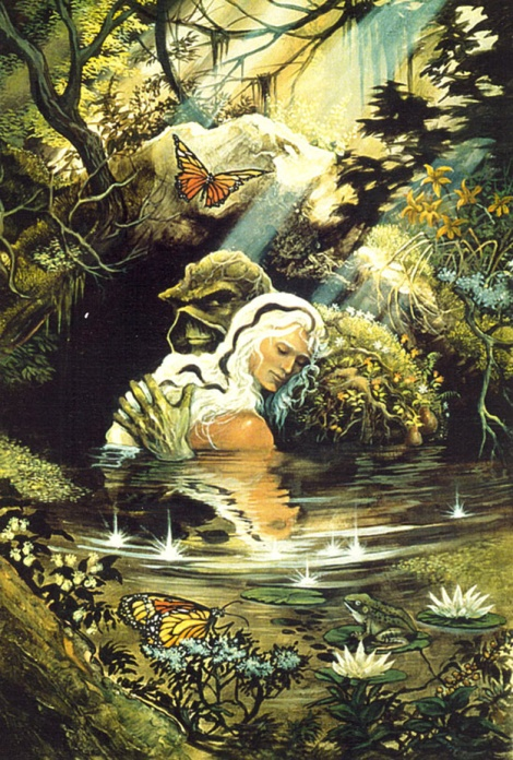 Cover of Swamp Thing issue #34, one of the most iconic images from Moore's run on the series featuring it's namesake and Abigail Arcane