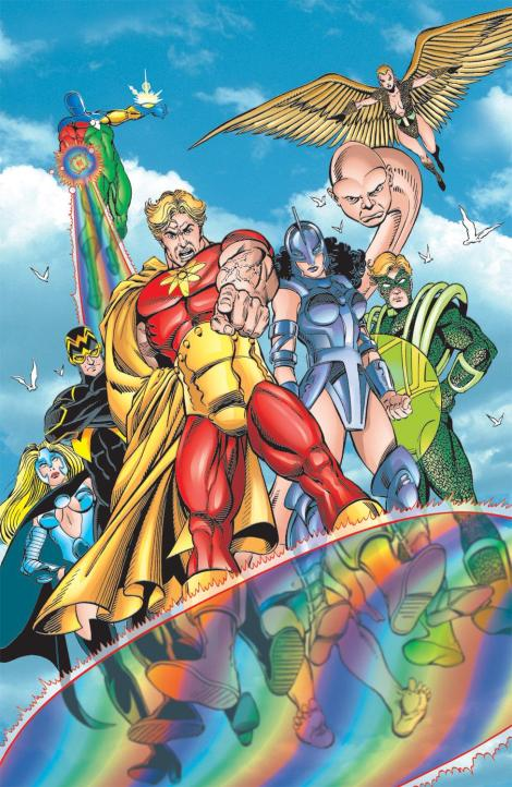 The original Squadron Supreme. Yeah... you can't tell who THESE guys are supposed to be...