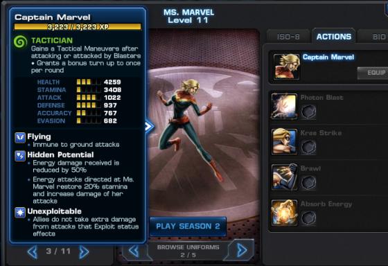 Captain Marvel Stats