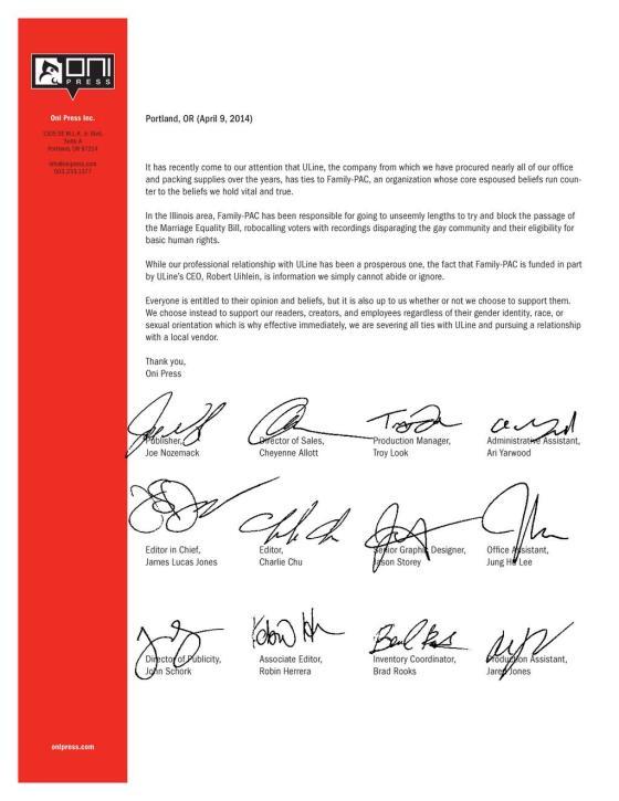 ONI Uline Press Release